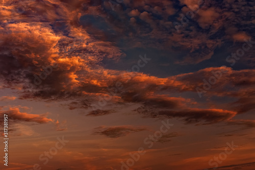 Magnificent altostratus cloud in magenta colors at sunset. Canvas Print