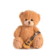 Teddy Bear With Guitar White B...