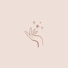 Nature Logo Of Hand And Stars,...