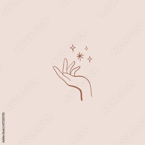 Nature logo of hand and stars, linear icon of arm Canvas Print