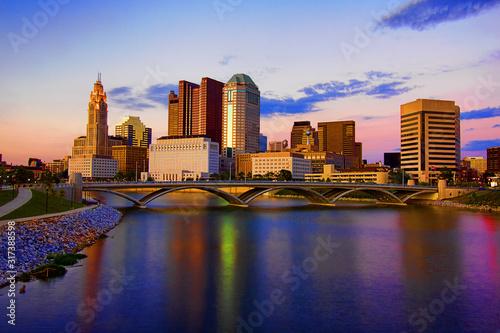 Downtown Skyline Columbus Ohio Scioto Mile Rich Street Bridge HDR stock photo Canvas Print