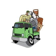 Vector Of Cartoon Pickup Truck Loaded  Full Of Household Junk Design Eps Format, Suitable For Your Design Needs, Logo,  Illustration, Animation, Etc.