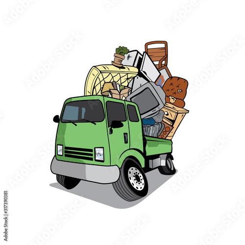 Cuadros en Lienzo Vector of Cartoon pickup truck loaded  full of household junk design eps format, suitable for your design needs, logo,  illustration, animation, etc