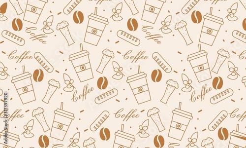Obraz na plátně Pattern elements of coffee icons background illustration