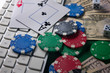 Online gaming platform, casino and gambling business. On a green background