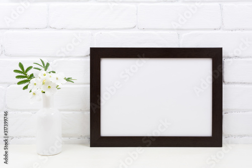 Fototapety, obrazy: Black brown  landscape frame mockup with Tobacco flowers
