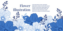 Blue And White Flower Illustra...