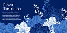 Blue And White Flower Illustra...