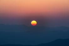 Close Up Beautiful Sunrise Over The Mountains At Doi Samer Dao, Nan, Thailand.