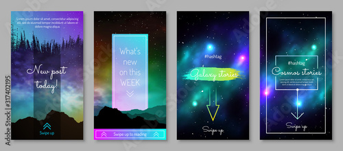 Fototapeta Galaxy blog post design with swipe up button. Colorful deep space background with stars and nebulas vector illustration. UI UX interface set for mobile application. Galaxy discovery and exploration obraz na płótnie