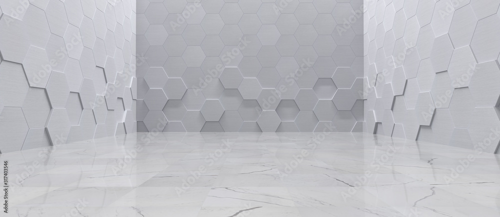 Fototapeta Empty Interior With Metal Hexagon Wall Panels and Tiled Marble Floor (3D Illustration)