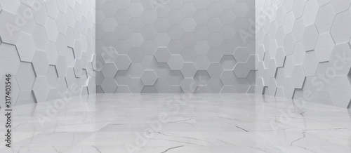 Fotografía Empty Interior With Metal Hexagon Wall Panels and Tiled Marble Floor (3D Illustr