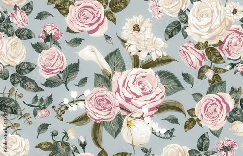 kremowe-kwiaty-retro-na-scianie