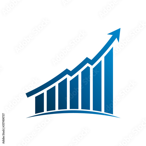 Obraz Finance graphic bars up profit arrow. Vector Illustration Design - fototapety do salonu