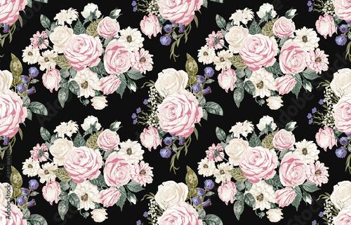 Seamless floral patterns in vintage style. © Karmina