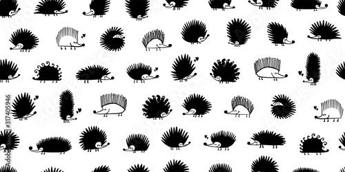Obraz na plátne Funny hedgehog family, seamless pattern background