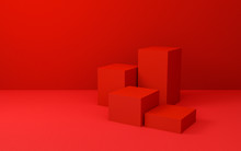 Abstract Red Cube Background T...