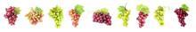 Fresh Juicy Grapes On White Ba...