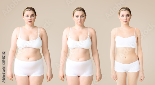 Fotografia Young woman before and after slimming on color background