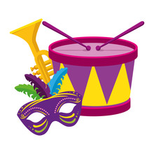 Mardi Gras Drum Trumpet And Ma...
