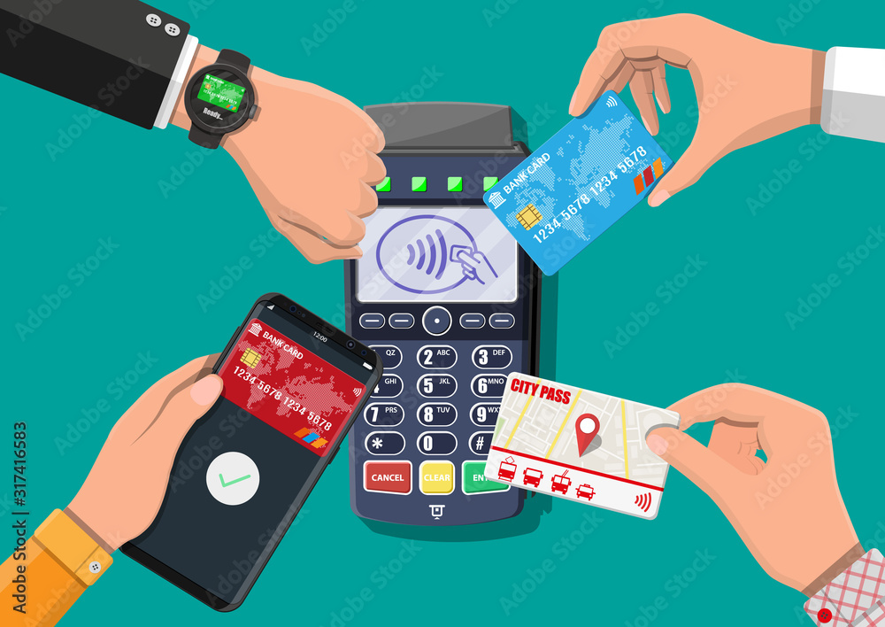 Fototapeta Hands with transport card, smartphone, smartwatch and bank card near POS terminal. Wireless, contactless or cashless payments, rfid nfc. Vector illustration in flat style