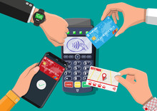 Hands With Transport Card, Smartphone, Smartwatch And Bank Card Near POS Terminal. Wireless, Contactless Or Cashless Payments, Rfid Nfc. Vector Illustration In Flat Style