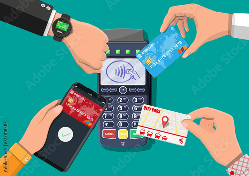 Fototapeta Hands with transport card, smartphone, smartwatch and bank card near POS terminal. Wireless, contactless or cashless payments, rfid nfc. Vector illustration in flat style obraz
