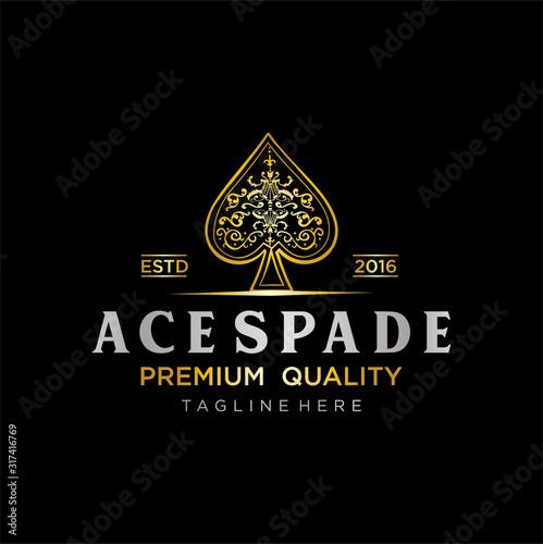 Gold royal Spade Luxury Logo vector Canvas Print