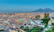Naples In Italy With Mount Ves...