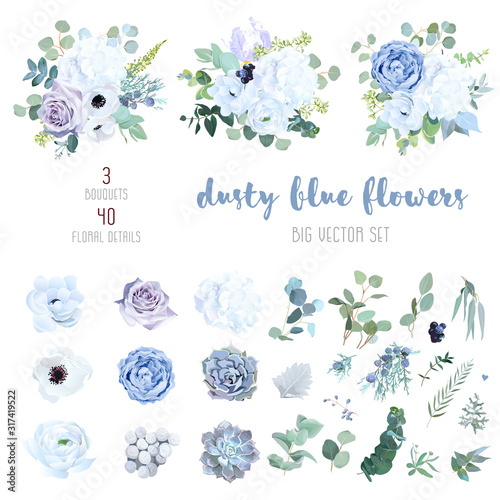 Photo Dusty blue, pale purple rose, white hydrangea, ranunculus