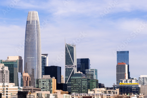 Urban skyline with tall residential and office buildings in South of Market dist Canvas Print
