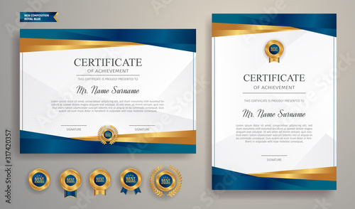 Cuadros en Lienzo Blue and gold certificate of achievement template with gold badge and border