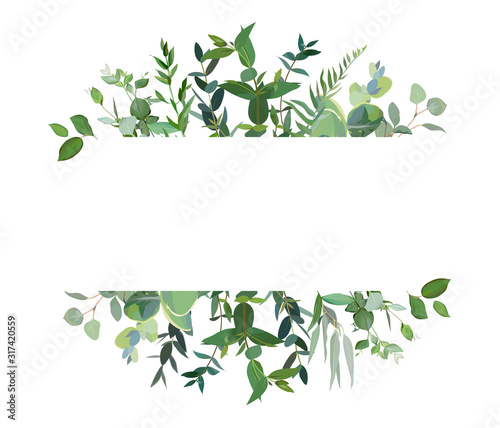 Horizontal botanical vector design banner.
