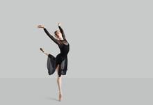 Woman Ballet Dancer Over Gray ...