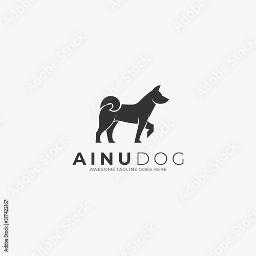 Vector Logo Illustration Ainu Dog Elegant Silhouette Style Canvas Print