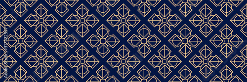 Dark blue seamless background with geometric golden pattern