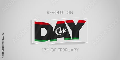 Libya happy revolution day vector banner, greeting card. Canvas-taulu