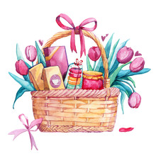 Basket Gift Flowers Women's Day Pasta Tea Jam Sweet Watercolor Isolated White