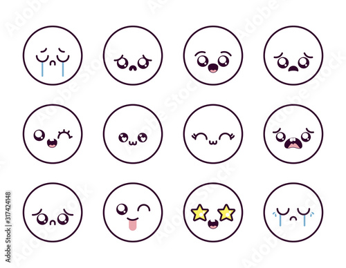 Kawaii cartoon face icon set inside circles vector design - 317424148