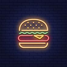 Neon Burger Food Icon Logo