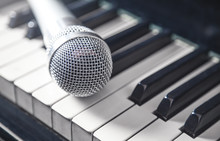 Microphone On Piano Keyboard...