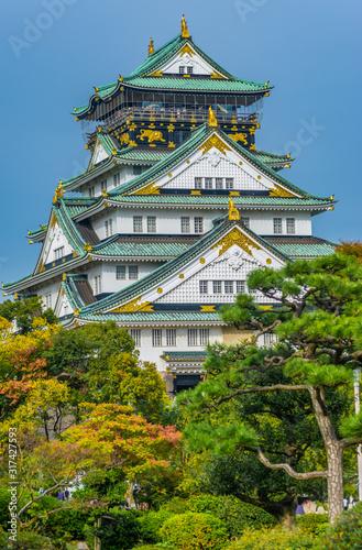 Fototapeta premium Zamek w Osace w jesiennych kolorach, Japonia