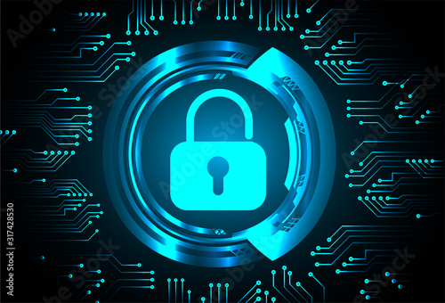 Photographie Closed Padlock on digital background, cyber security