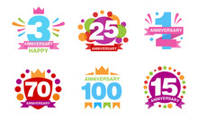 Colorful Anniversary Labels Co...