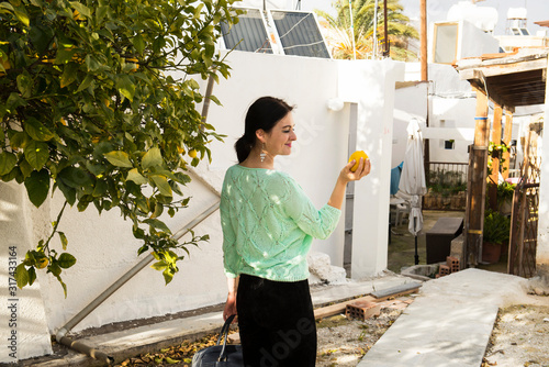 Walking in the courtyards of Cyprus with a Lemon Wallpaper Mural
