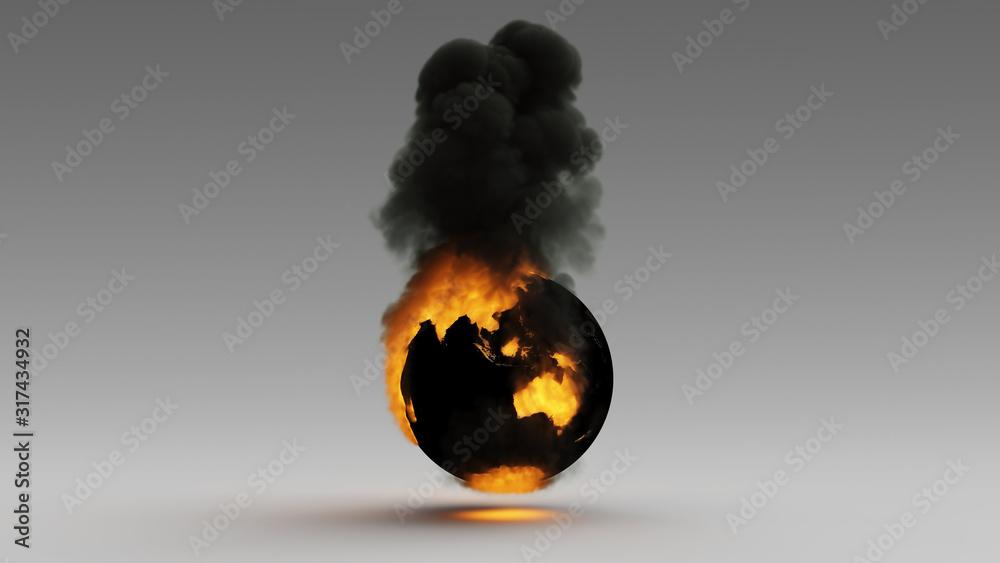 Fototapeta Earth on Fire Australia Asia South East Continent Climate Change 3d illustration 3d render