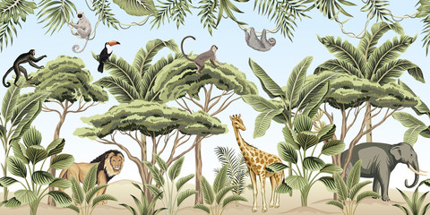 Vintage tree, palm tree, banana tree, plant, lion, indian elephant, giraffe, ...