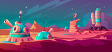 Krajobraz powierzchni Marsa z budynkami kolonii. Baza astronautów na czerwonej planecie. Futurystyczna ilustracja kreskówka wektor kolonizacji kosmosu, koncepcja eksploracji kosmosu. Stacja kosmiczna w obcej galaktyce