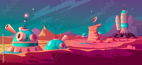 Vászonkép Landscape of Mars surface with colony buildings