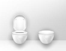 Toilet Bowls Mounted On Wall I...